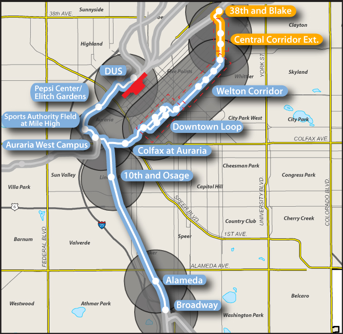 Map of RTD's central corridor