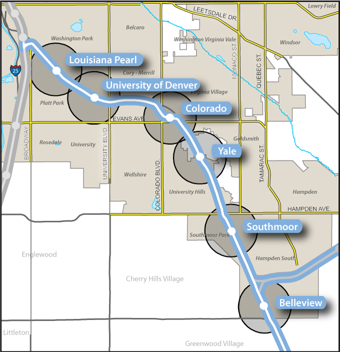 Map of RTD Southeast Corridor