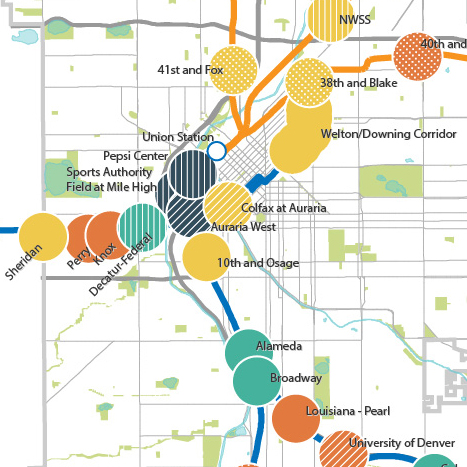 Detail of Denver TOD typology map, linking to PDF of full map