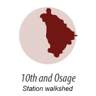 Illustration representing walk shed around 10th and Osage Station