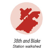 illustration representing the walk shed around 38th and Blake Station