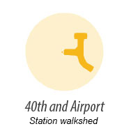 Illustration of walk shed around 40th and Airport Station