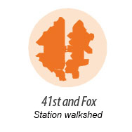 Illustration representing walk shed around 41st and Fox Station