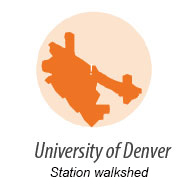 illustration representing walk shed around University of Denver Station