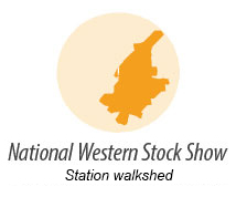 Illustration showing walk shed around National Western Stock Show Station
