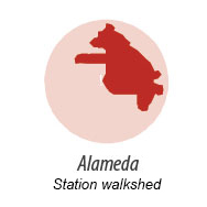 illustration representing the walk shed around Alameda Station