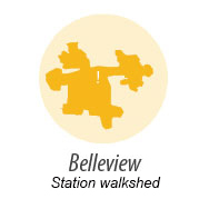 Illustration representing walk shed around Belleview Station