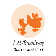 Illustration representing walk shed around Broadway Station