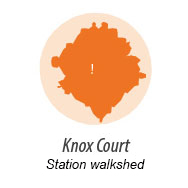 Illustration representing walk shed around Knox Station