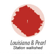 Illustration representing walk shed around Louisiana-Pearl Station