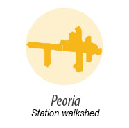 Illustration showing walk shed around Peoria station