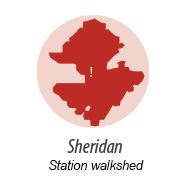 illustration representing walk shed around Sheridan Station