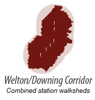 illustration representing walk shed around Welton-Downing Corridor Stations