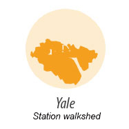 illustration representing walk shed around Yale station