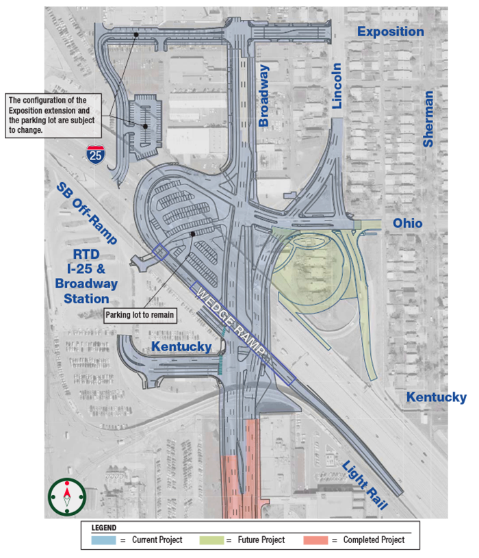 map of South Broadway project area highlighting ramps and street elements under design