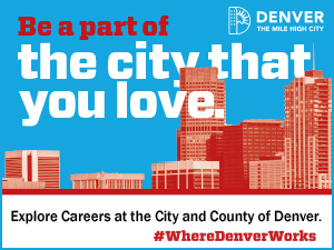 Denver landscape in brick red tones, set on skyblue sky. Text Be a part of the city that you love. Explore careers at the City and County of Denver #Where Denver Works.