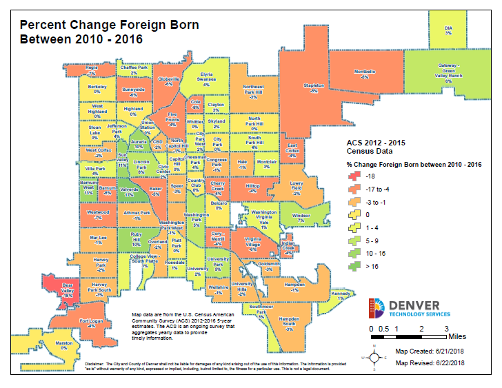 map of percentage change of the foreign born population by neighborhood