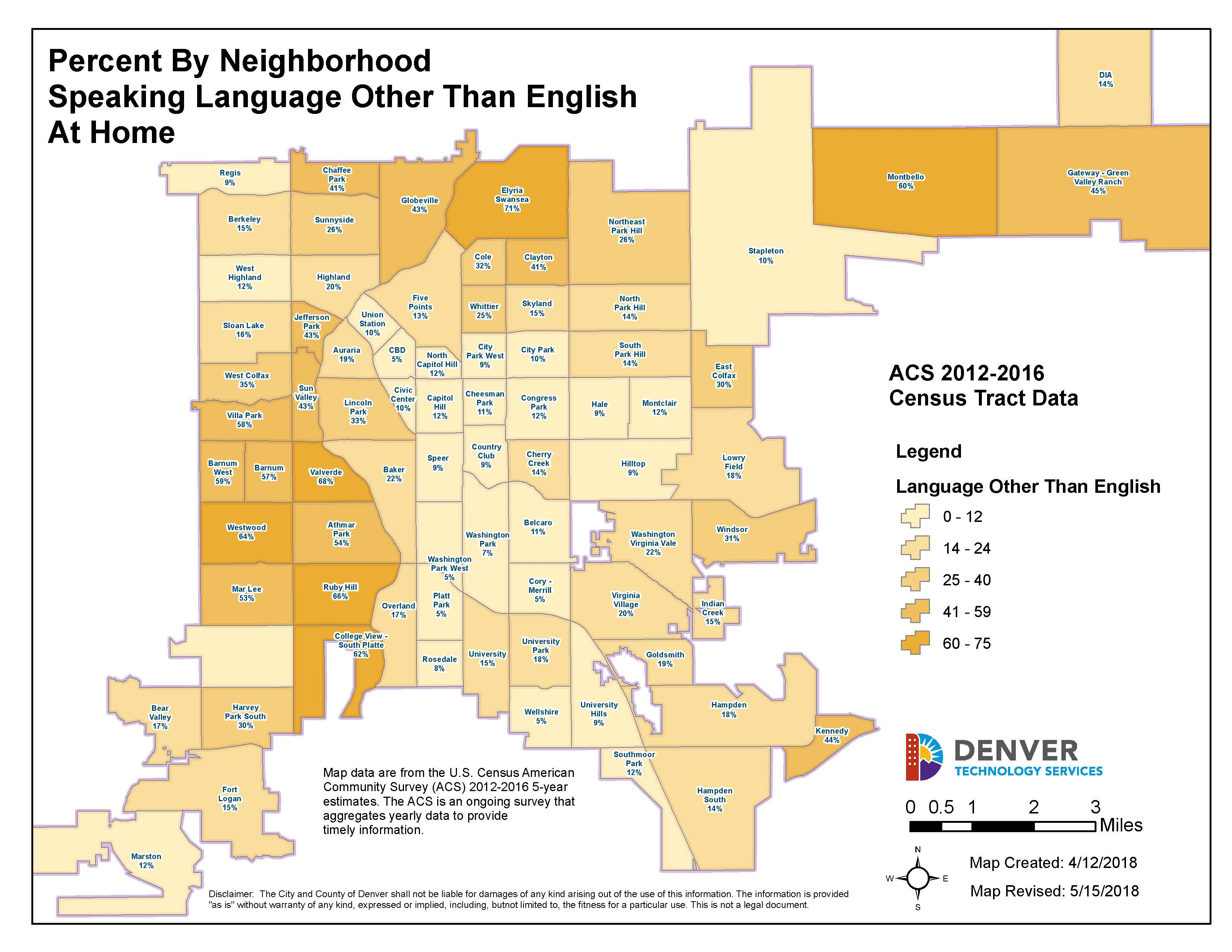 map: speak language other than English at home by percentage by neighborhood