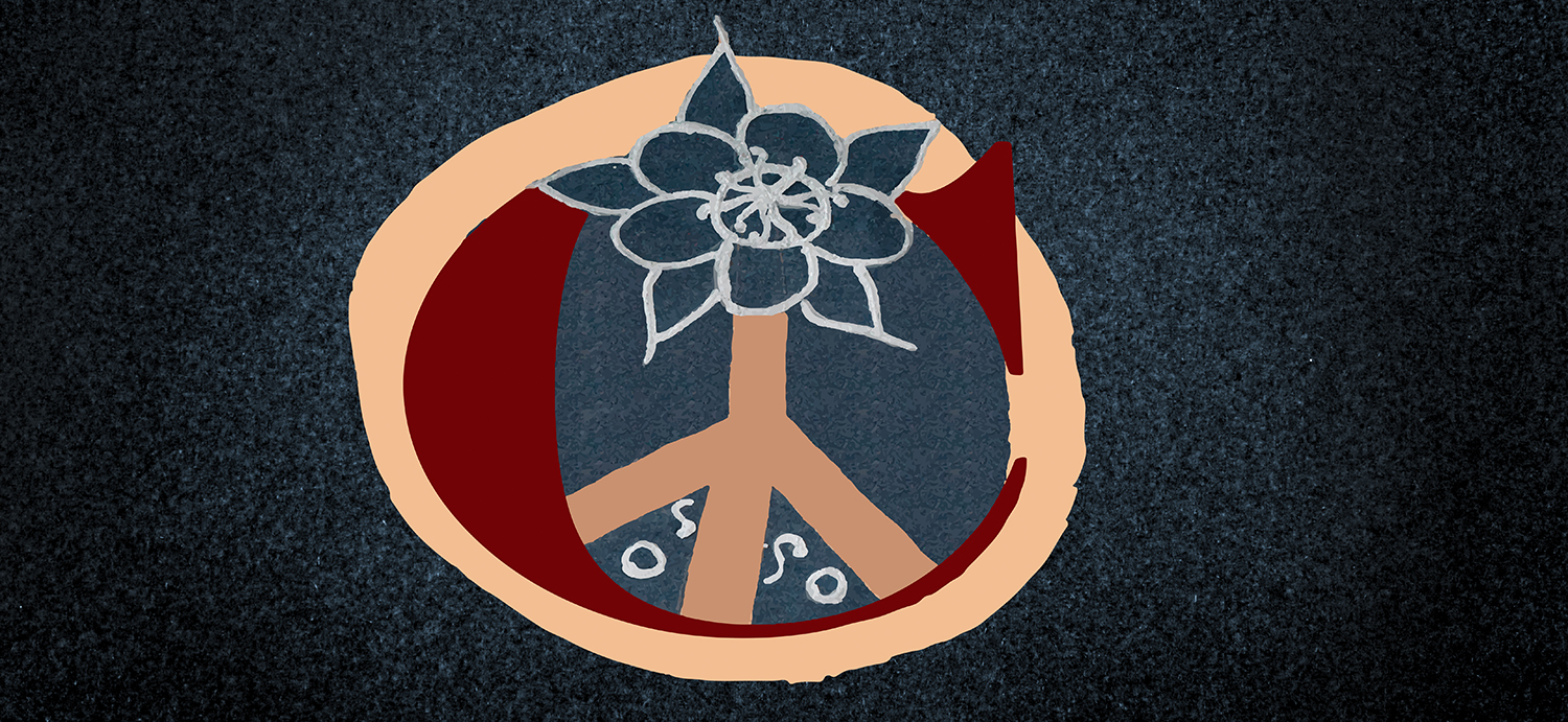 peace symbol and flower