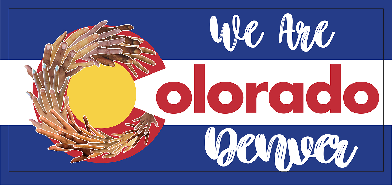 "Hands making up the C in Colorado, ""we are Colorado Denver"" written across image"