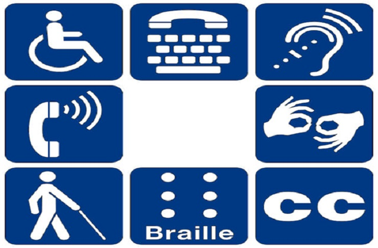 picture of a variety of disability symbols