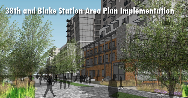 Banner image for the 38th and Blake Station Area Plan Implementation project