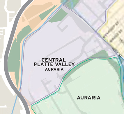 Map of the Central Platte Valley-Auraria District, the area south of the intersection of Speer Boulevard and I-25 and just north of the Auraria campus