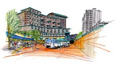 Illustration of a mixed use development