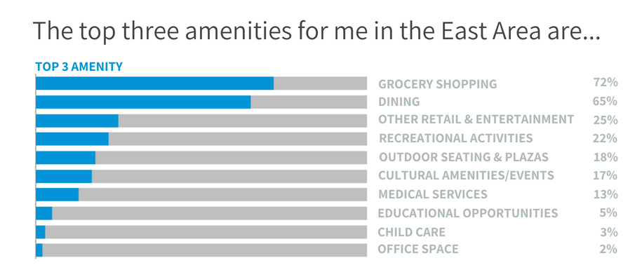 Graphic showing survey results on amenities in the East Area.