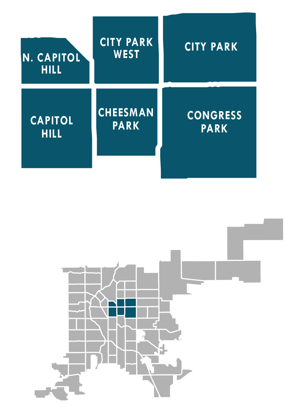 Map showing east central planning area neighborhoods: North Capitol Hill, Capitol Hill, City Park West, Cheesman Park, City Park and Congress Park