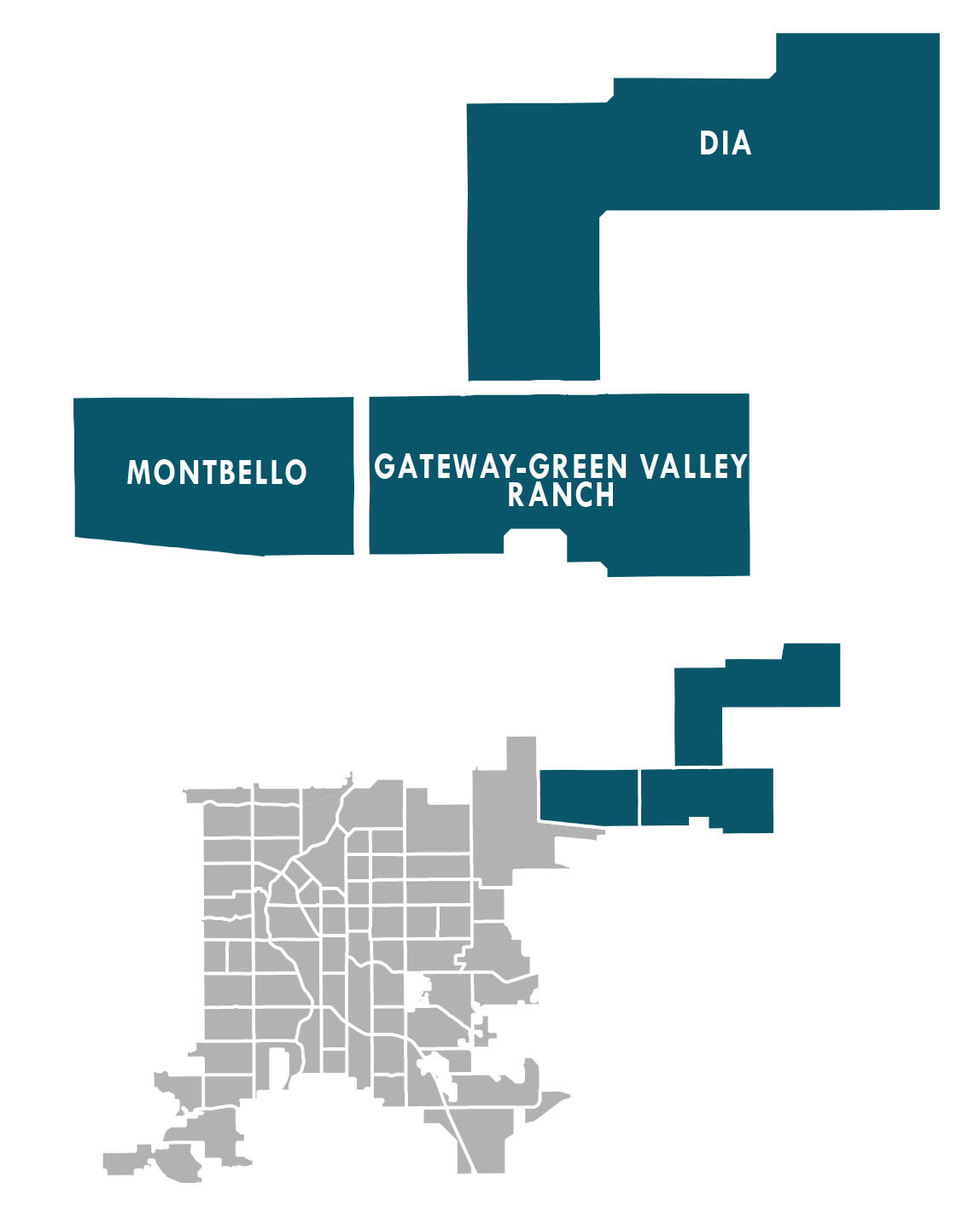 Map of the Far Northeast Area neighborhoods: Montbello, Gateway-Green Valley Ranch, and Denver International Airport