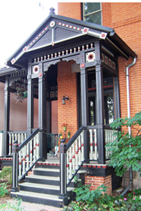 Photo of front porch of landmark home