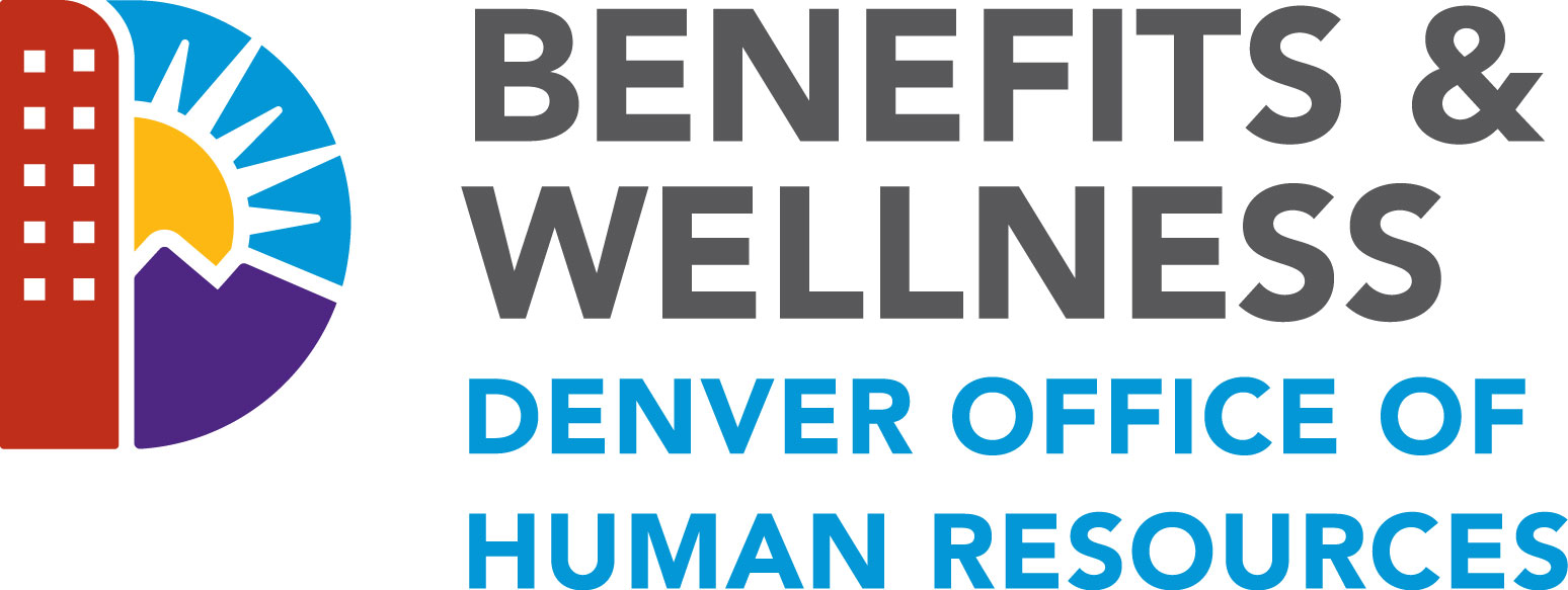 Denver D with text: Benefits & Wellness Denver Office of Human Resources