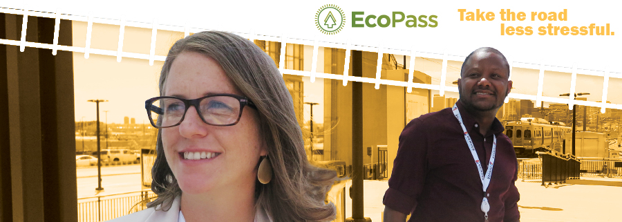 Professional woman sitting in light rail car, listening to earbuds. Tagline: Costs a lot less. Gives a lot more. EcoPass logo, green with two evergreen trees.