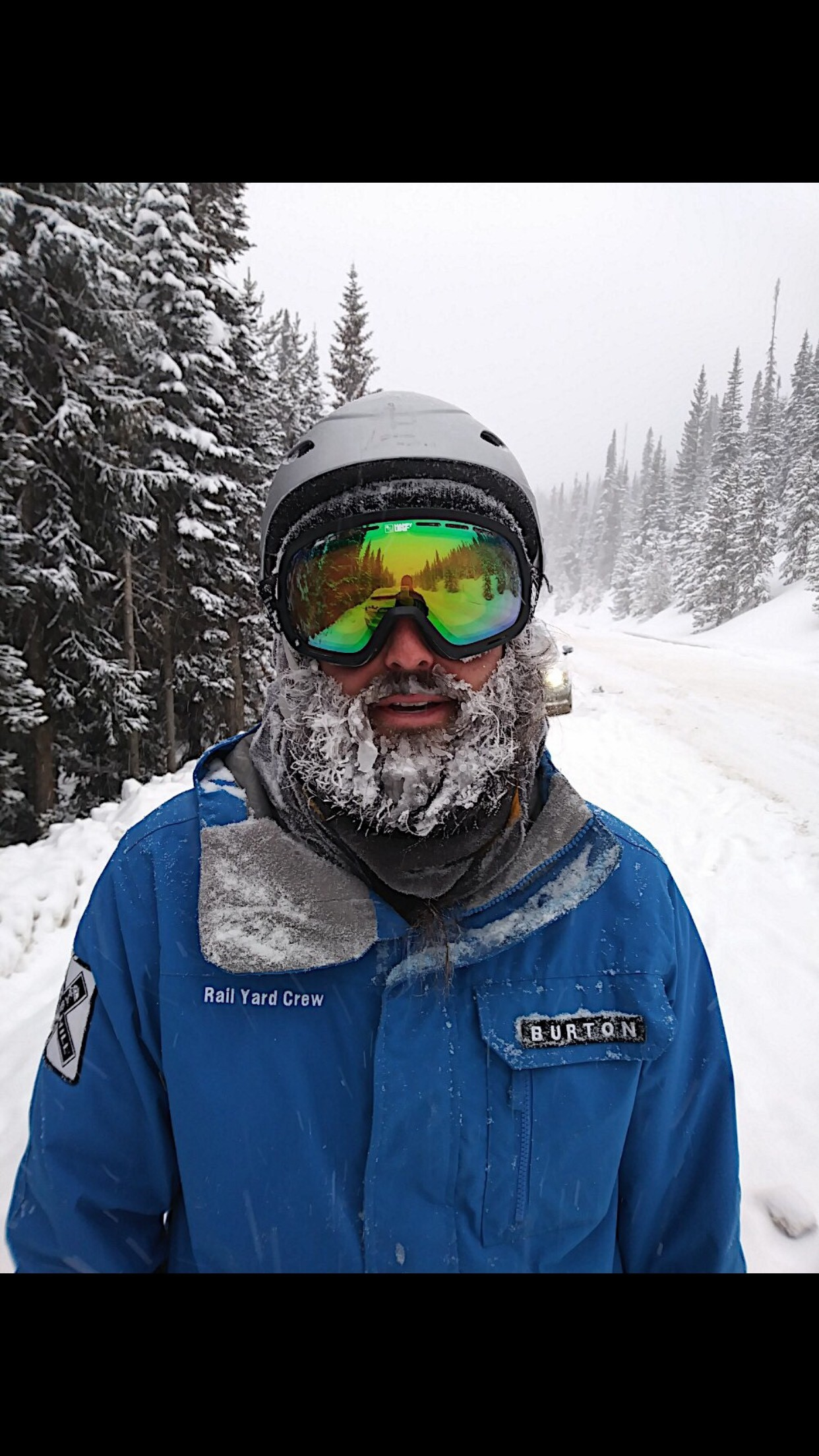 Sweaty person with snow frozen in beard.