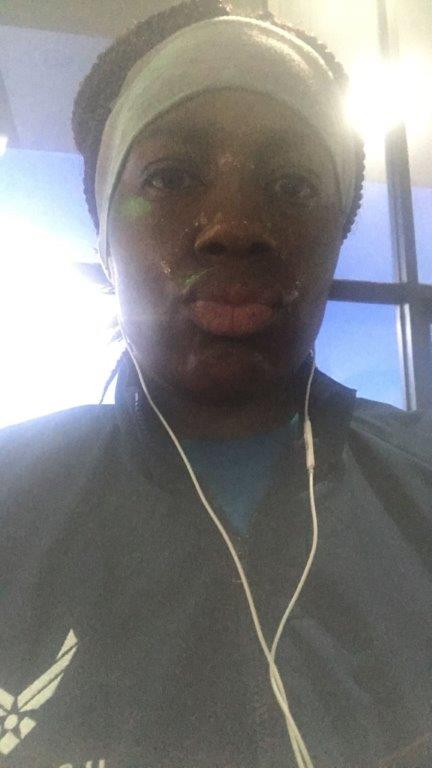 Sweaty person at gym.
