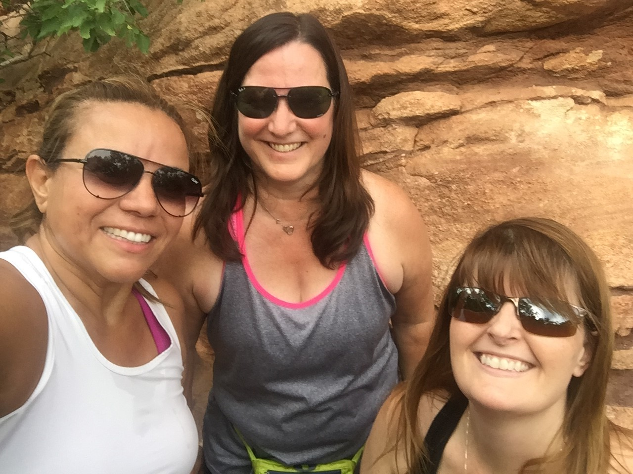 Three sweaty people on mountain hike.