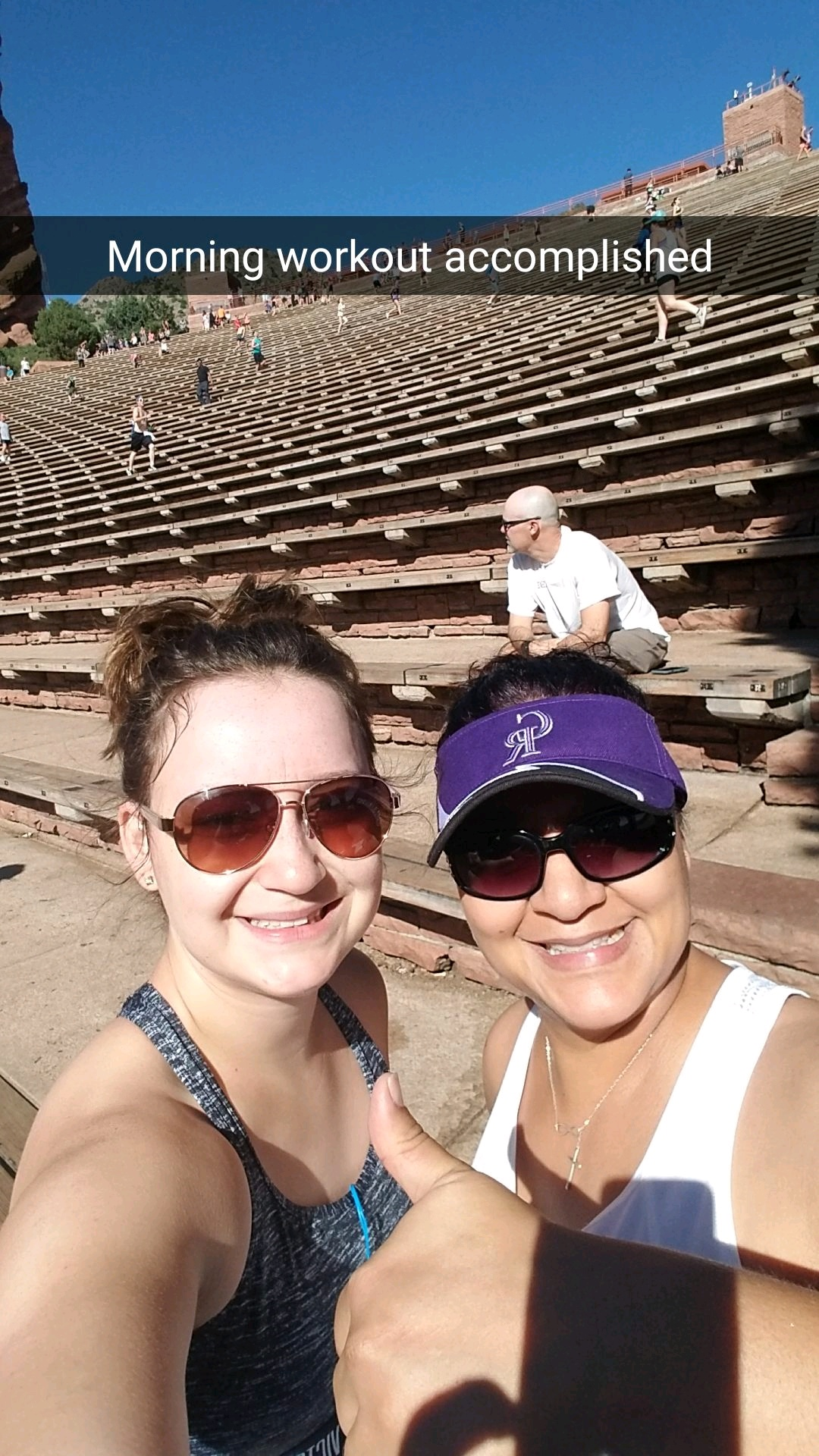 Two sweaty people after workout at Red Rocks.