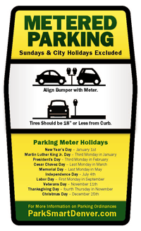 Denver meter sticker with parking instruction and holiday lists
