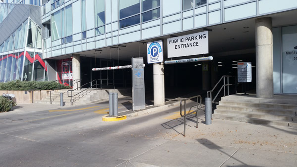 public parking garage entrance at street level