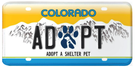 Adopt a Shelter Pet Colorado license plate