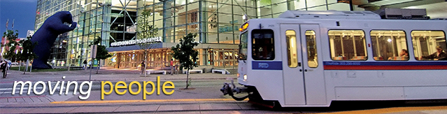 Moving People - light rail train at Colorado Convention Center
