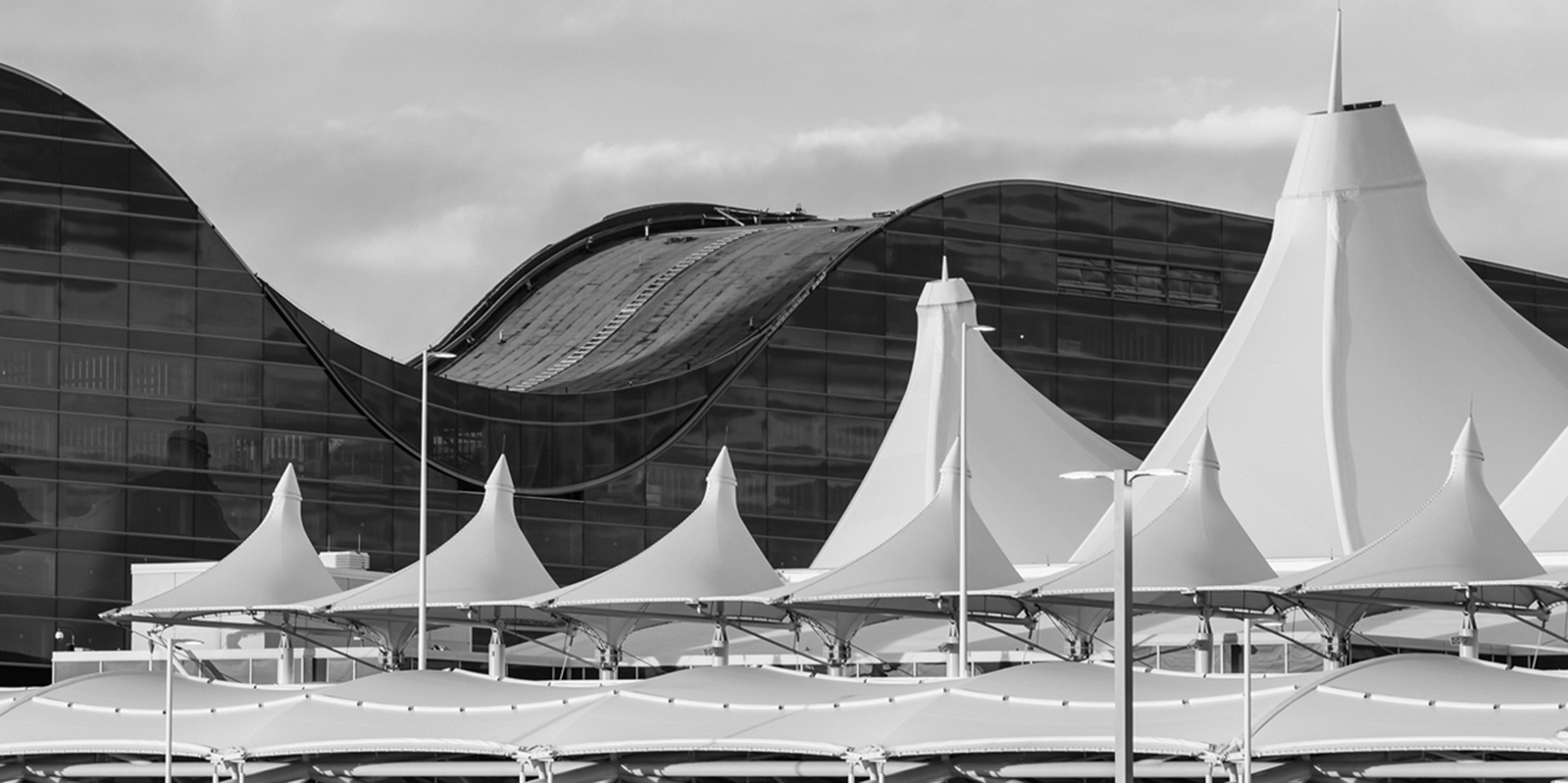 Black and white photo of Denver International Airport(DIA)