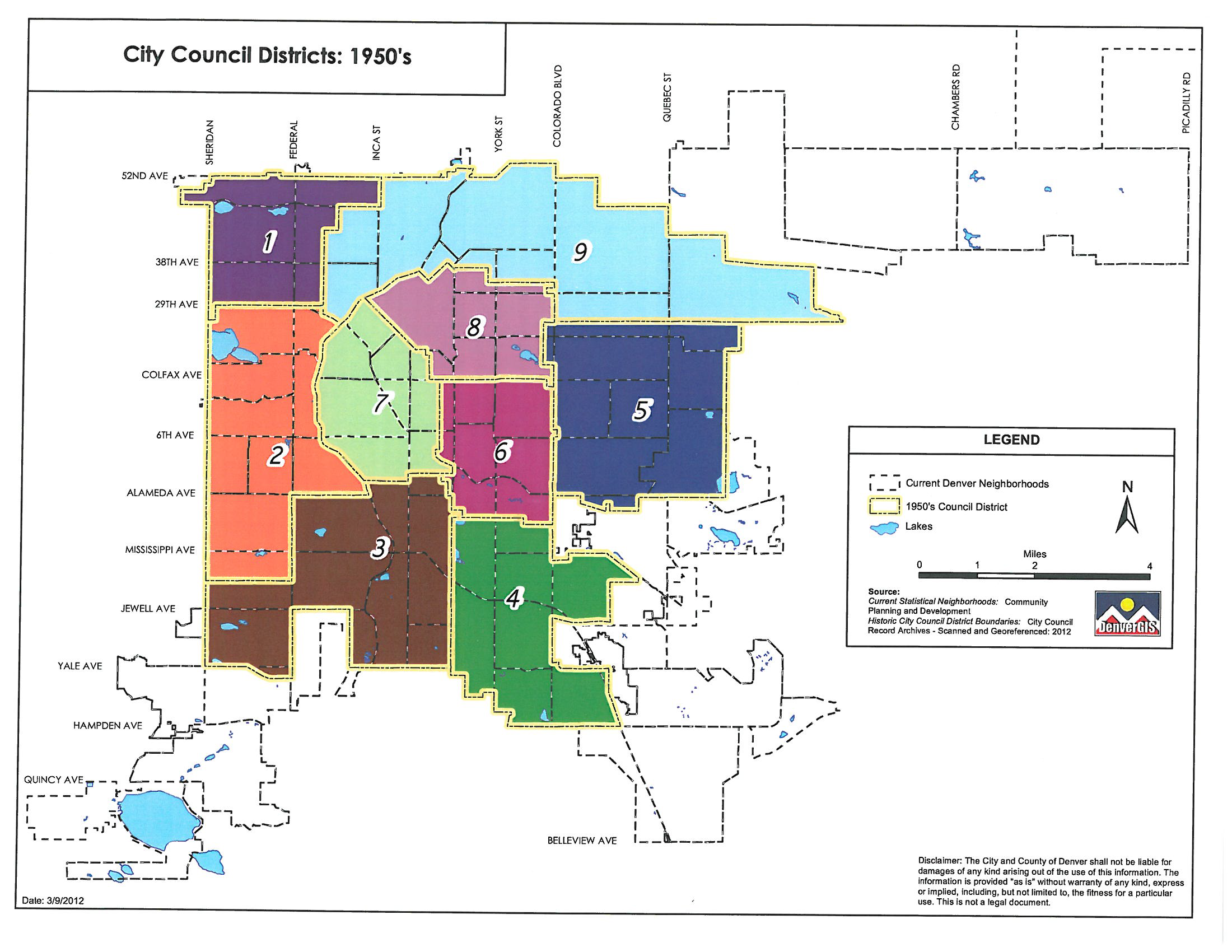 1950's Denver council districts map