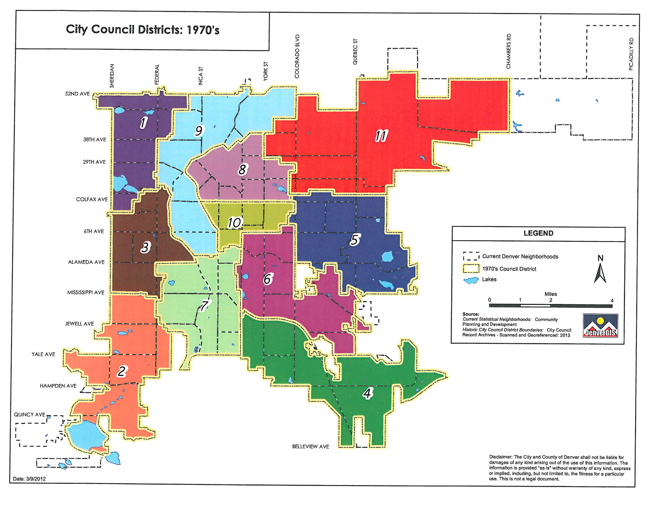 1970's Denver council districts map