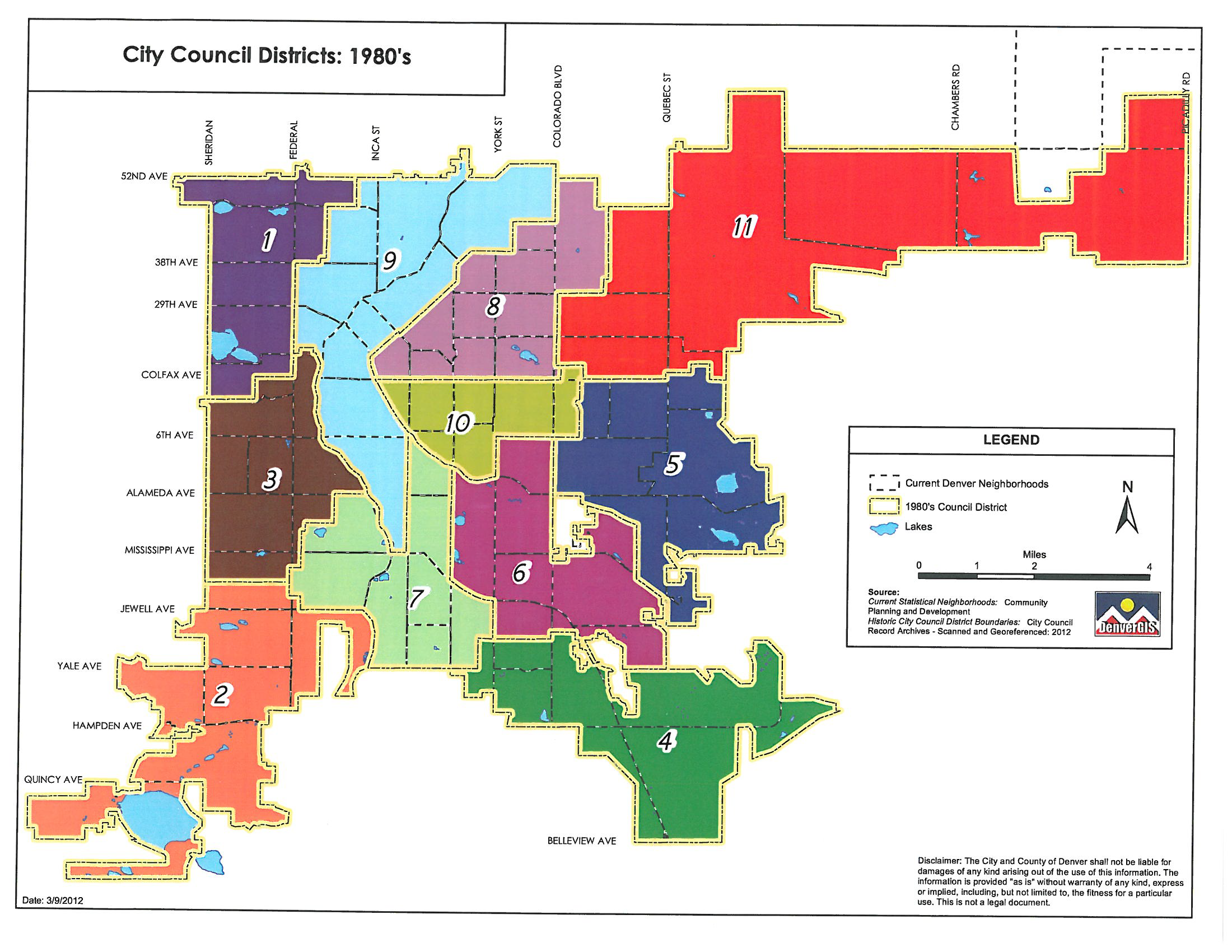 1980's Denver council districts map