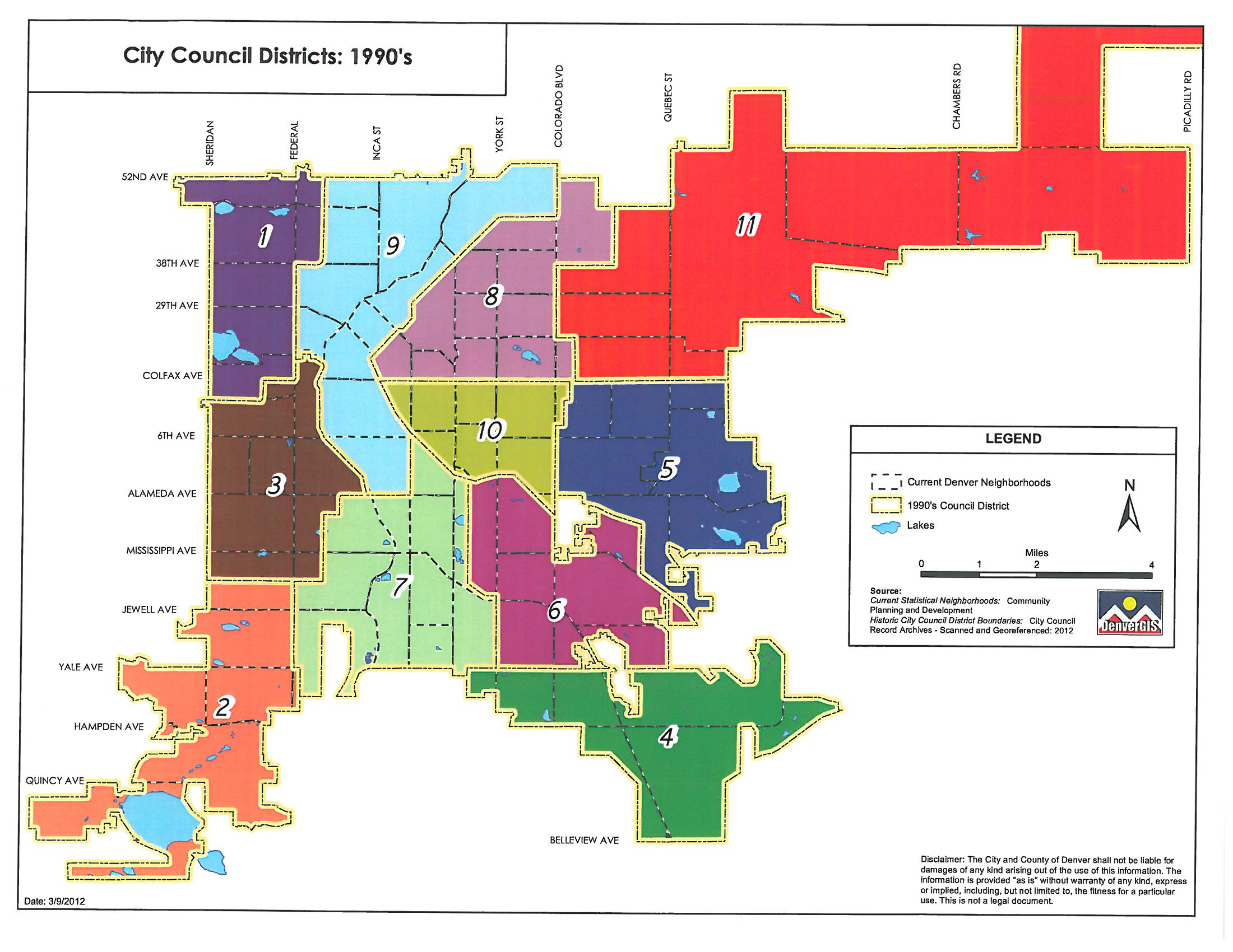 1990's Denver council districts map