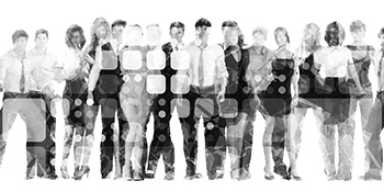 Group of working people behind an abstract background