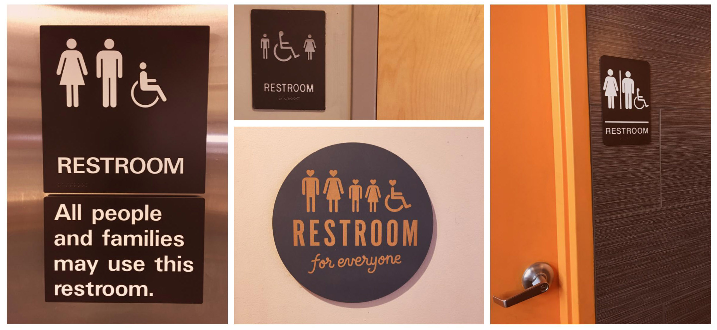 Four gender-neutral bathroom signs