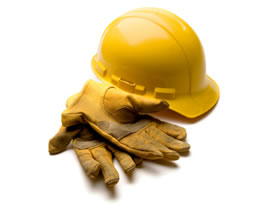 Image of a hardhat and gloves